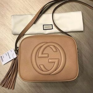 Rose Beige Leather Gucci Soho Disco Crossbody Bag